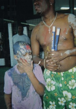 Father and son, J'ouvert, St James, Port of Spain, Trinidad